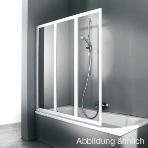 Hüppe Combinett 2 Badewannenabtrennung, 3teilig Klarglas mit ANTI-PLAQUE / silber matt