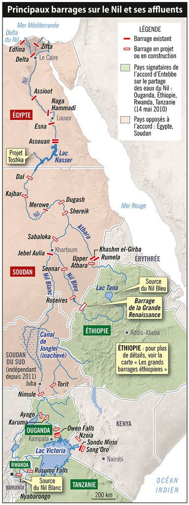The race for water : dams already built or in project on the River Nile basin. Map created by Hugues Piolet for GlobalMagazine.info.