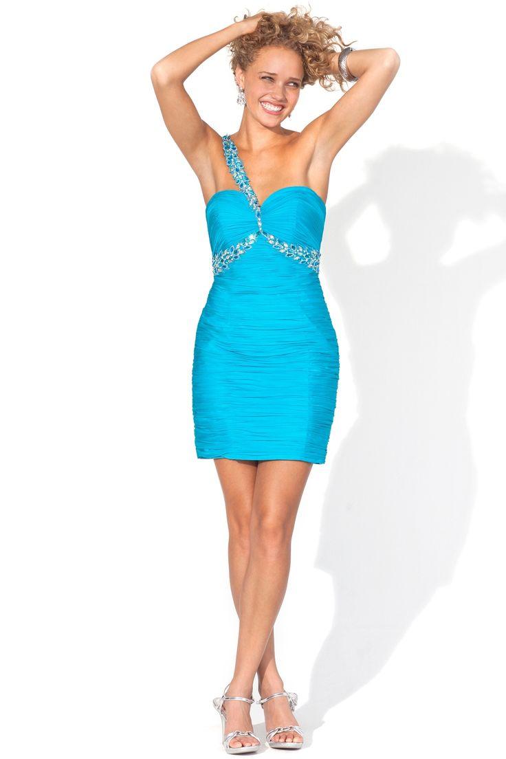 Blue Satin Mini Prom Dress