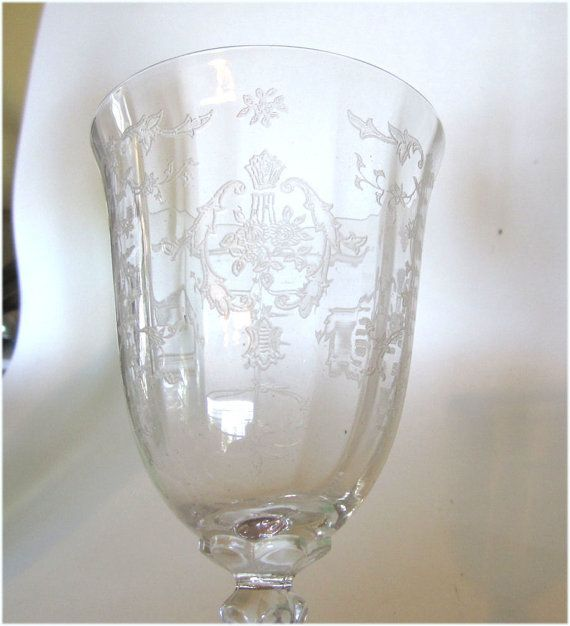 1930's Fostoria Glass Navarre Etch Water Goblet Great for
