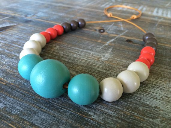 Hand painted wooden bead bubble necklace/ statement by ModFresh, $32.00