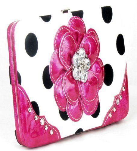 Polka Dot Pink Flower Clutch Opera Wallet
