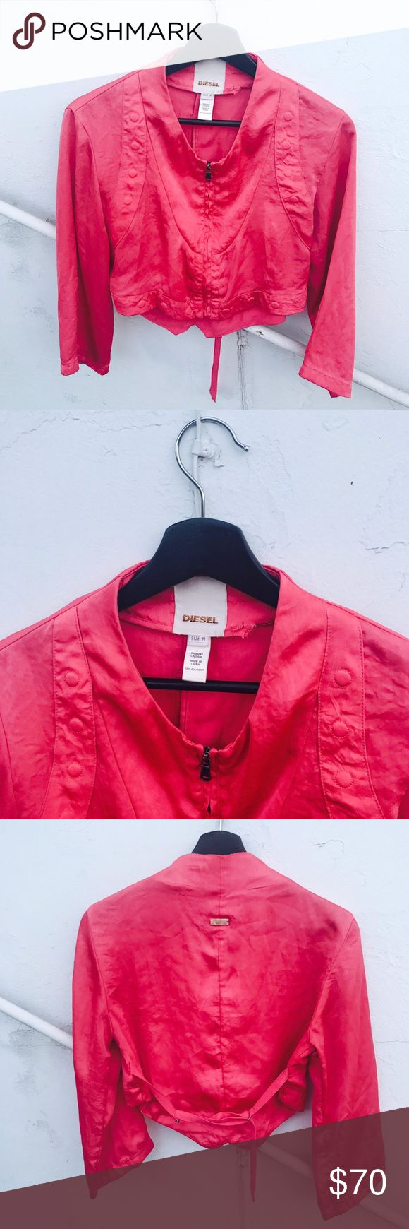 DIESEL salmon pink jacket Zippered in front and only a minor tear on inner neckline (not visible from the back) Diesel Jackets & Coats Blazers