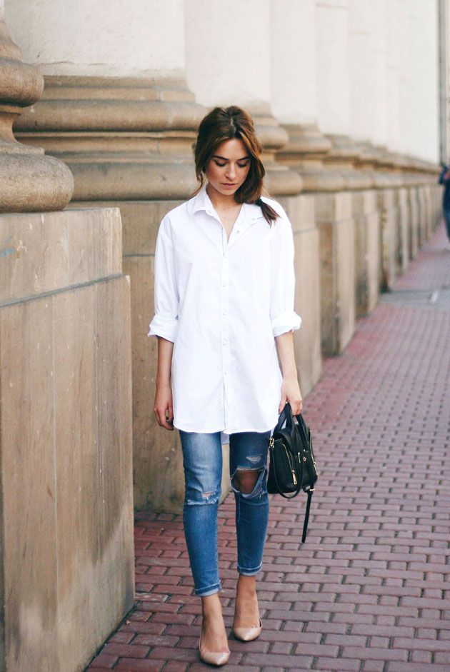 25 best ideas about white shirt outfits on pinterest for White pants denim shirt