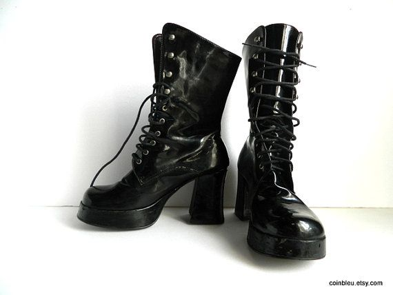 Black faux patent leather wedge boots size by frenchvintagedream