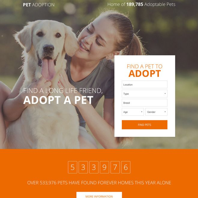 Download Pets Adoption Responsive Lead Capture Landing Page Design From Https Www Buylandingpagedesign Com Buy Pets Adopti Pet Adoption Adoption Landing Page