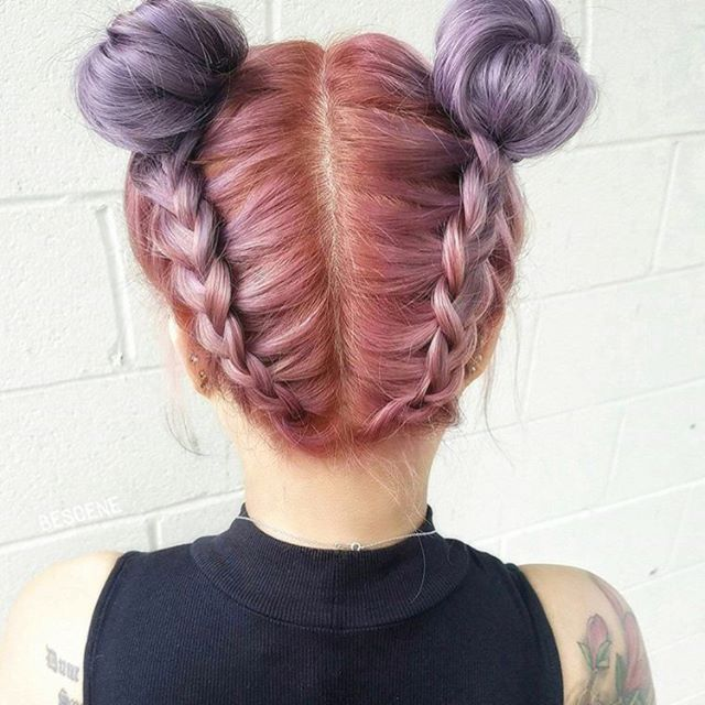 This hairstyle is so beautiful! I love those buns dyed hair!  Hair dye was applied by @bescene and the haircut was done by @hairbyapes