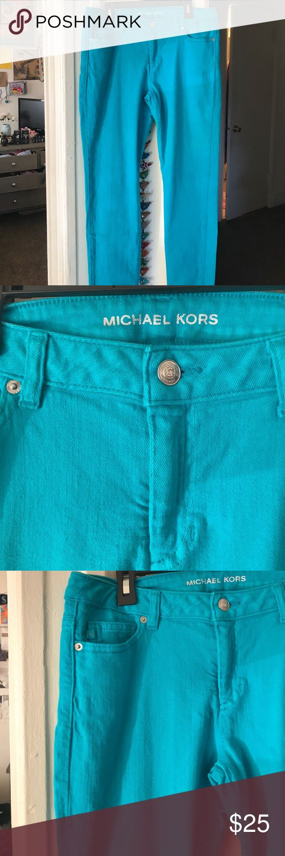 Michael Kors Denim Skinny Jeans Soft denim skinny jeans in teal with golden MK logo on right back pocket. Great condition, only worn once! Michael Kors Jeans Skinny