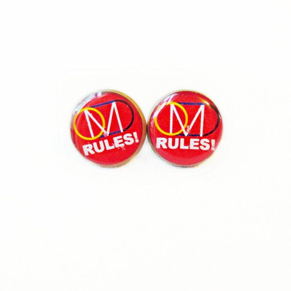 OMD RULES Stud Earrings  Blue Pop Culture door ARTWORKbyMALLORY, $10.00