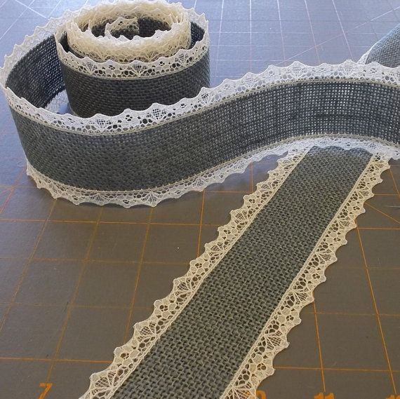 Gray+Burlap+Ribbon+with+Ivory+Lace++2+inch+x+3++by+cherrycheckers,+$8.00