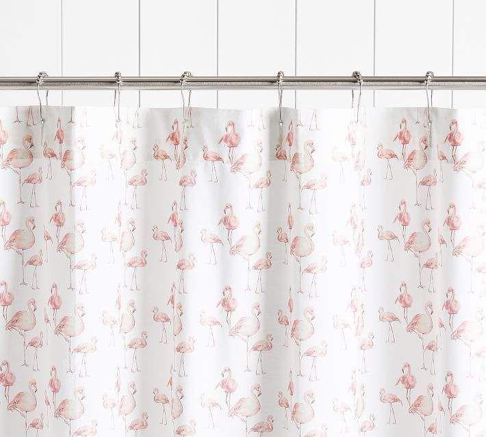 Pottery Barn Flamingo Print Shower Curtain Printed Shower