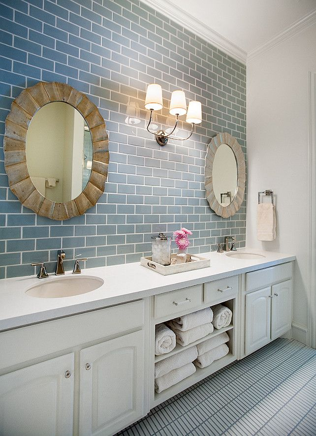 Bathroom Design. Transitional bathroom with blue subway tiles and attractive pair of mirrors. #Bathroom #BathroomIdeas #TransitionalBathroom  Tracy Hardenburg Designs.