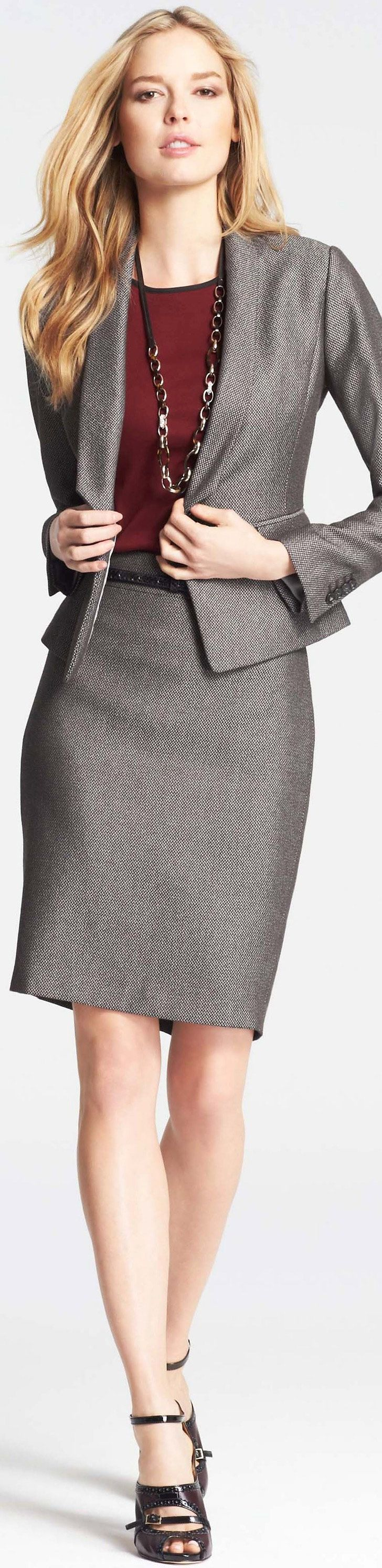 Ann Taylor skirt suit--love the suit but the shoes have to go! Why not a pump, closed or open toe? Maybe some hose?