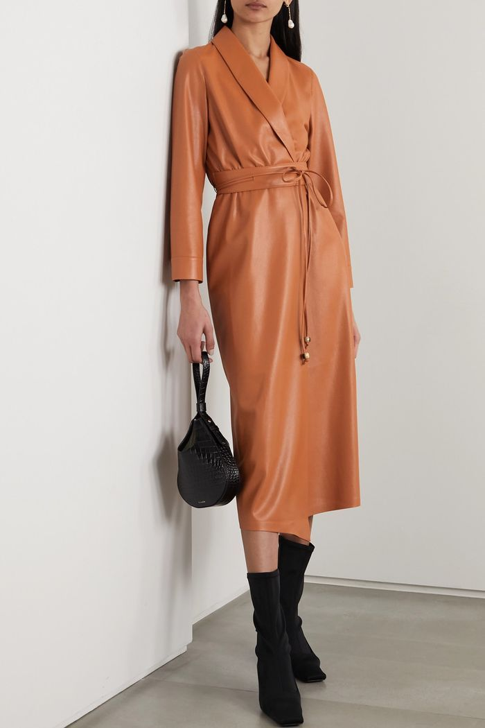 Nanushka Emery Vegan Leather Wrap Dress | Leather dresses, Wrap dress,  Spring dress trends