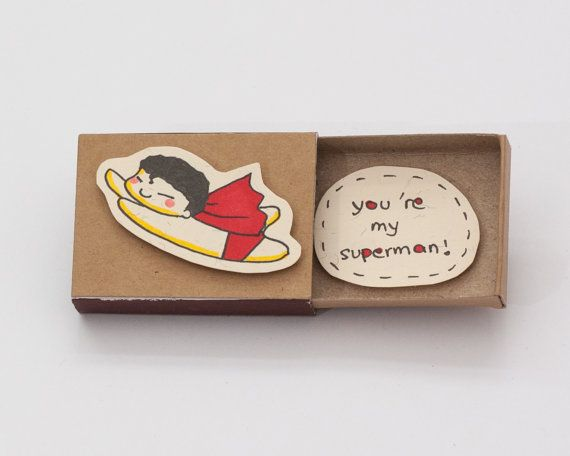 "Funny Superman Anniversary card/ Unique anniversary gift/ Love Card/ ""You are my superman"" Matchbox / Message box/ LV039"