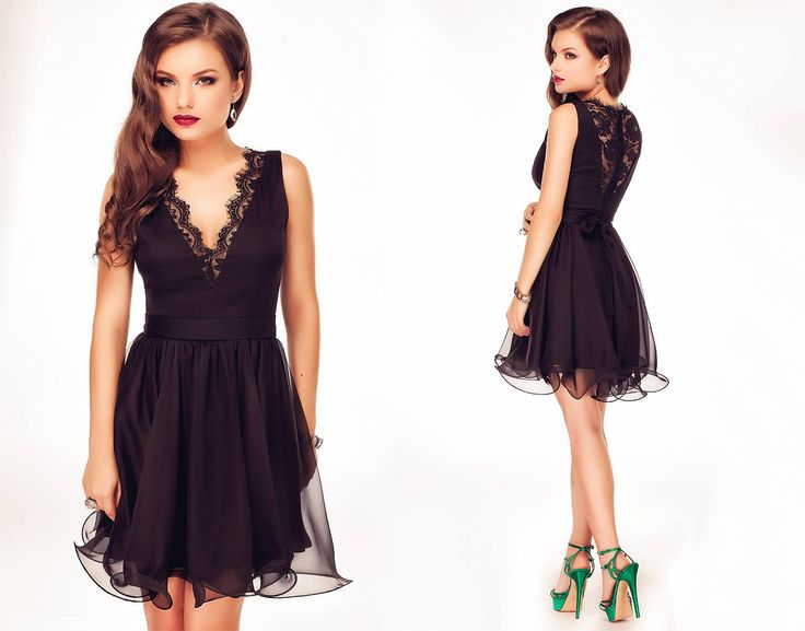 Short occasion dress made from black silk veil, with black lace details around the cleavage and at the back. #littleblackdress