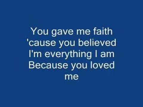 Celine Dion-Because you loved me (with lyrics) - YouTube