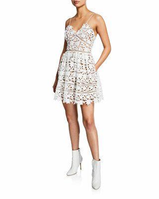 e7bdf7f048a Self-Portrait Designer Azaelea Floral Lace Sleeveless Mini Dress ...