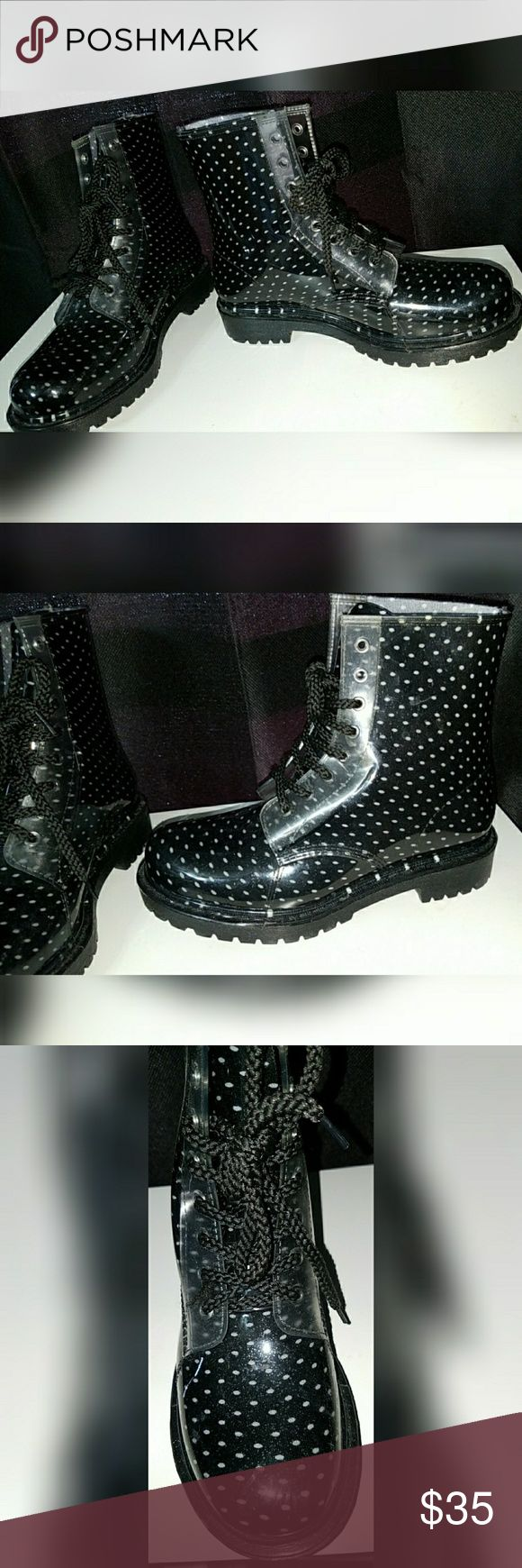 Chunky ''Doc Marten'' Style Transparent Boots Although these boots are not Doc Martens, they look very similar to Doc Martens. They are made of a transparent vinyl fabric that has a cloth black and white polka pattern inside of it. The brand is Dirty Laundry. These have never been worn, they still have the size tags on bottom & size 8.  Feel free to make offers!! Just to make this clear, these are NOT doc martens, these are shoes that look similar to the classic doc marten style. And come…