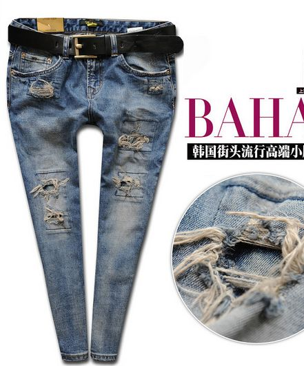 New fashion Spring patch hole harem pants female skinny pants blue denim JEANS women trousers size 25-30 free shipping GD-175C