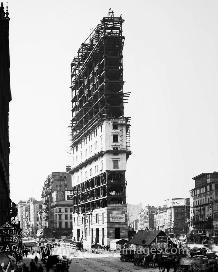 Construction of the Times Tower, 1904Time Towers, Time Squares, Time Buildings, Flatiron Buildings, York Cities, Times Square, New York, Building Construction, Buildings Construction