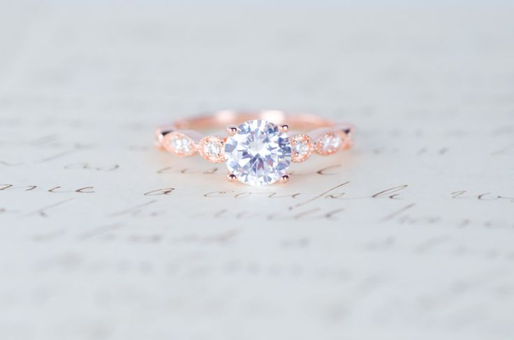 Rose Gold Engagement Ring - Art Deco Ring - Promise Ring - Vintage Ring - Wedding Ring - Sterling Silver