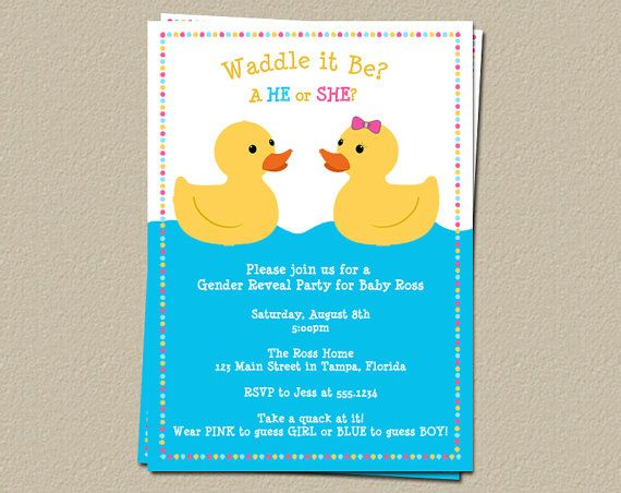 Duck Gender Reveal Party Invites Waddle it Be by TheInviteLadyShop, $9.00