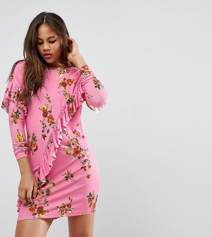 ASOS TALL Mini T-Shirt Dress With Frill And Low Back In Floral Print -