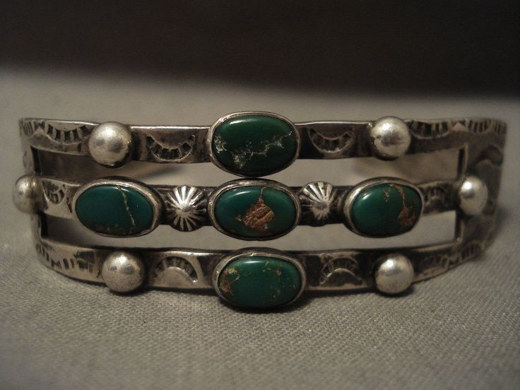 Early 1900;s Vintage Navajo Cerrillos Turquoise Silver Ingot Bracelet