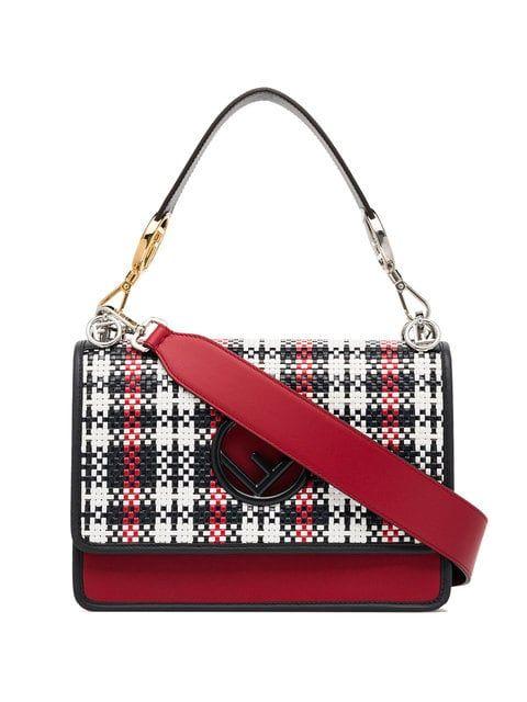 Shop Fendi Kan I F woven leather shoulder bag.  a2c9905c7b923