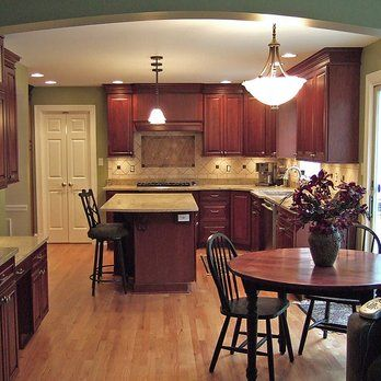 Kitchen With Cherry Cabinets Granite Counter Tops And Red Oak Hardwood Flooring Yelp Home Kitchen Pinterest Cherry Cabinets