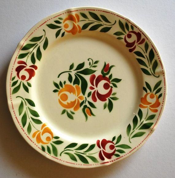 Vintage Floral Plate Boch La Louviere Belgium by GoodSoulVintageMI, $20.00