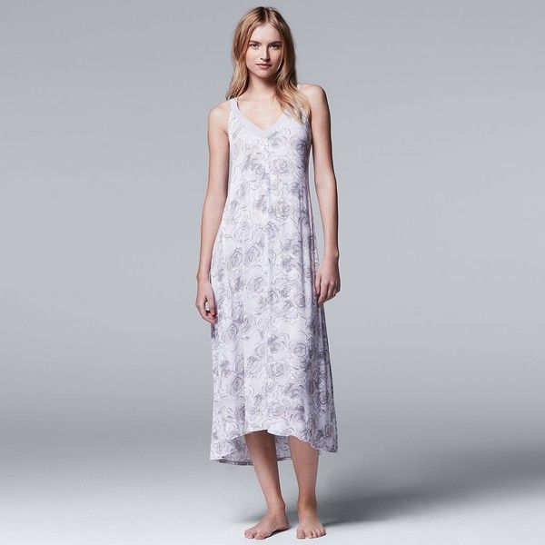 Women's Simply Vera Vera Wang Pajamas: Late Bloomers Maxi Nightgown ($39) ❤ liked on Polyvore featuring intimates, sleepwear, nightgowns, med grey, sleeveless nightgowns, maxi nightgown, simply vera and simply vera sleepwear