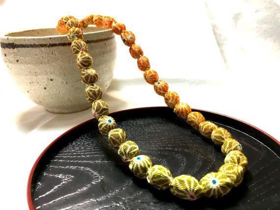 Chirimen Wrapping Necklace Gradation geometric by UkiYuki on Etsy