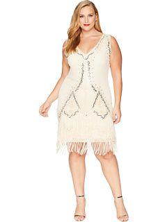 3dddec2efc Unique Vintage Plus Size 1920s Style Beaded Sylvie Flapper Dress Zappos.com