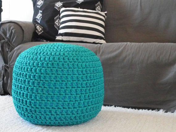 Floor Cushions For Nursery : Teal Pouf-Ottoman Chair-Footstool-Pouf Ottoman-Glider Foot Pouf-Nursery Ottoman Pillow-Crochet ...