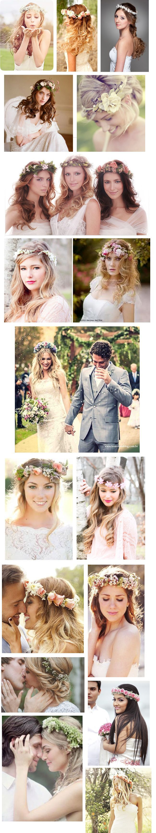 fotos de noivas usando coroa de flores
