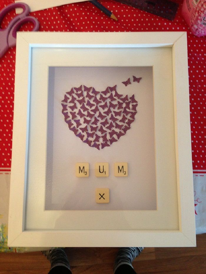 What a pretty Mother's Day gift! You could easily make something similar for your mum. Get one of our large square 3D box frames, plain wooden letters and wooden heart ornaments. More Mother's Day DIY ideas and inspiration at www.craftmill.co.uk