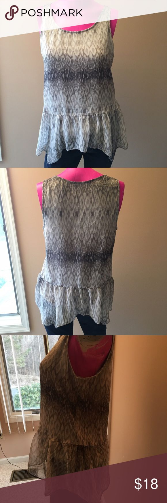 🆕Express Print Tank Top Gray diamond print chiffon ruffle bottom tank top. Full back. Excellent condition, like new. Great for work or a night out! Express Tops Tank Tops