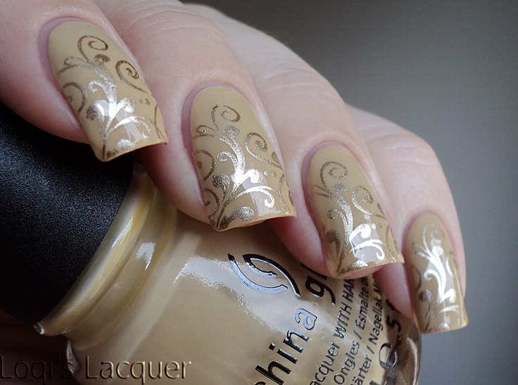 """""""This is 2 coats of China glaze - Kalahari kiss.[...] I used an image from bm-314 stamped with China glaze - Passion"""""""