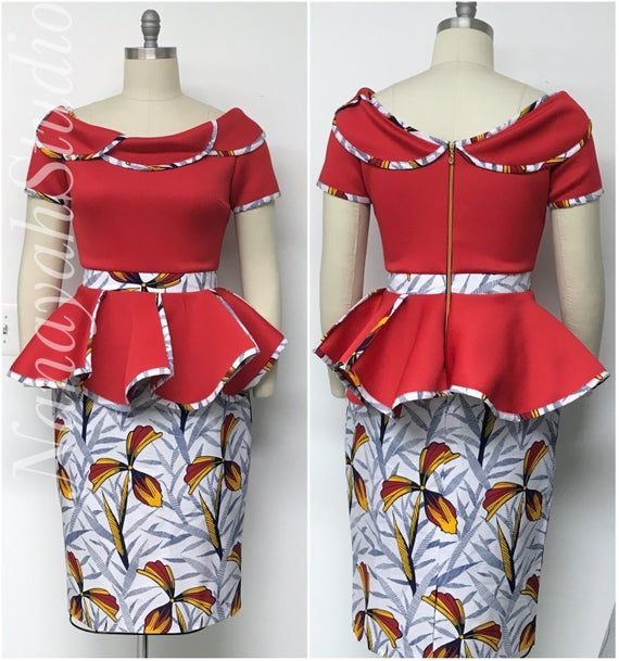 AYALUX 2019 Collection. African Print Scuba Neoprene Two Piece Petal Peplum Top. Pencil Skirt. Handmade. Red Navy Yellow White