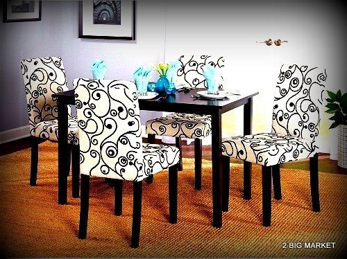Modern Top Table Dining Set Parson Chair Kitchen Modern Colors 5 Pieces  #Unbranded