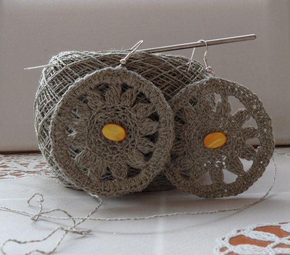 Hand Crochet  Natural Linen Celtic Sun Earrings by CraftsbySigita on Etsy