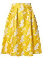 Womens Yellow Floral Full Skirt- Yellow