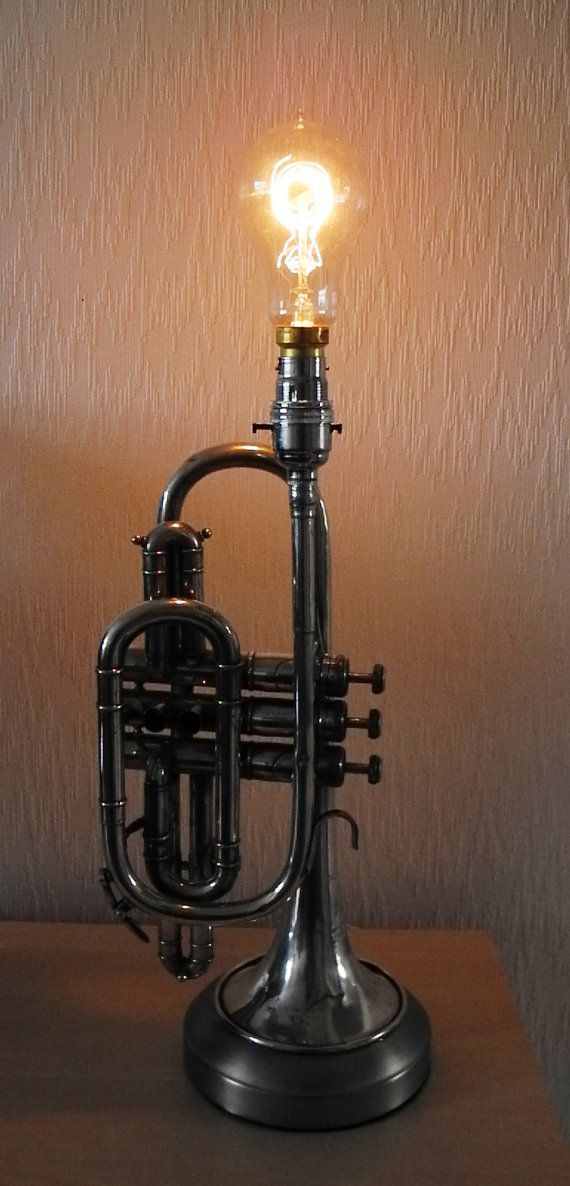 Trumpet Lamp DIY...This would look 100% better with a lampshade...maybe one with decoupage antiqued sheet music...something musical, of course...