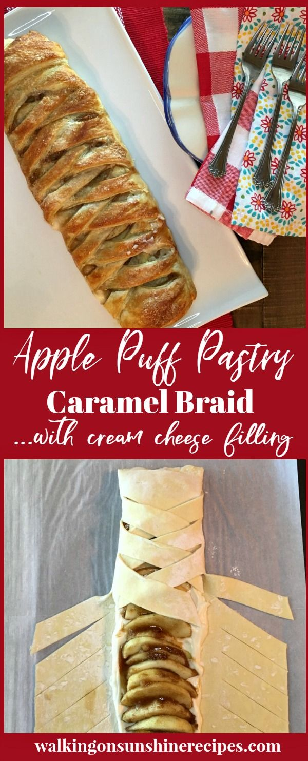 Step by step photo instructions on how to make this easy and impressive Apple Caramel Puff Pastry Braid with Cream Cheese Filling from Walking on Sunshine Recipes.