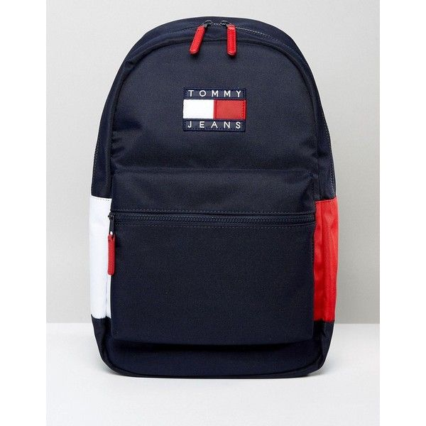Tommy Jeans Backpack (180 CAD) ❤ liked on Polyvore featuring bags, backpacks, blue, tommy hilfiger bags, zip bag, knapsack bag, american backpack and blue jersey