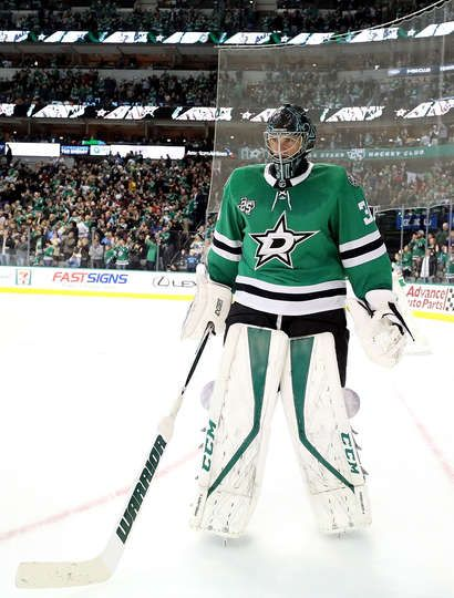 DALLAS, TX - DECEMBER 23: Ben Bishop #30 of the Dallas Stars during play against the Nashville Predators in the second period at American Airlines Center on December 23, 2017 in Dallas, Texas. (Photo by Ronald Martinez/Getty Images)