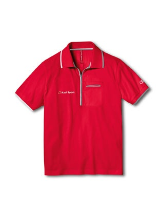 Men's Audi Sport polo shirt red.    Available from: http://www.m25audi.co.uk