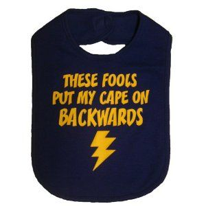 These Fools Put My Cape On Backwards Infant Toddler Superhero Bib Funny Baby Shower Gift - Royal Blue / Yellow